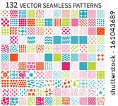 Set of vector geometric, polka dot, floral, decorative patterns.