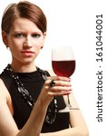 young woman with a wineglass... | Shutterstock . vector #161044001