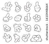 hands in gloves linear vector... | Shutterstock .eps vector #1610448664
