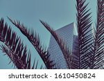 vintage view of palm trees and... | Shutterstock . vector #1610450824