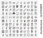 100 doodle coffee element icons ... | Shutterstock .eps vector #161050889