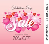 valentine sale poster with... | Shutterstock .eps vector #1610525071
