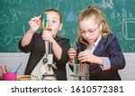 Small photo of Girls school uniform excited proving their hypothesis. School for gifted children. Gymnasium students with in depth study of natural sciences. School project investigation. School experiment.