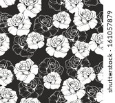 seamless vector dark floral... | Shutterstock .eps vector #161057879