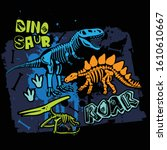 typography print with dinosaur... | Shutterstock .eps vector #1610610667