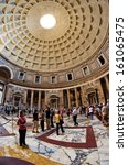 Small photo of ROME-SEPTEMBER 20: The interior of the Pantheon on September 20, 2012 in Rome, Italy. Built by Agrippa on 27 BC was a temple for all the gods of ancient Rome. It is a Christian church from 609.