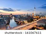 Stock photo berlin skyline panorama during sunset germany 161067611