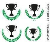 green realistic set of circular ... | Shutterstock .eps vector #1610682631
