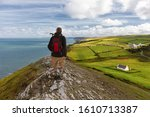 A Hiker On The Coastal Path In...