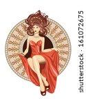 Woman  Art Nouveau Sitting In...