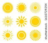 sun icons set. flat shining...