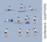 women workout fitness  aerobic... | Shutterstock .eps vector #1610773531