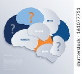 brain and question marks  ... | Shutterstock .eps vector #161077751