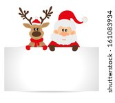 santa claus and reindeer with a ... | Shutterstock . vector #161083934