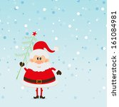 santa claus with christmas tree ... | Shutterstock . vector #161084981