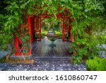 Small photo of MARRAKESH, MOROCCO –June 02. 2019.:The beautiful and imaginative Anima Garden in Marrakesh,Universal artist Andre Heller's opulent gardens unique interaction between flora and art.Gazebo with fountain