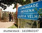 Small photo of porto seguro, bahia / brazil - January 1, 2011: entrance gate of Aldeia Velha, unworthy territory of the Pataxo ethnic group in the city of Porto Seguro.