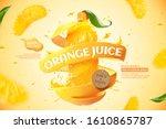orange bottle juice ads with... | Shutterstock .eps vector #1610865787