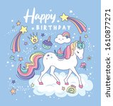 birthday card with a beautiful...   Shutterstock .eps vector #1610877271