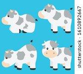 cute cow vector illustration... | Shutterstock .eps vector #1610892667
