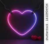 neon pink and blue heart sign... | Shutterstock . vector #1610904934