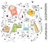 cartoon animals in scandinavian ... | Shutterstock .eps vector #1610949094