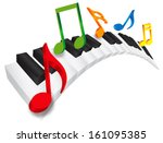Piano Keyboard With Black And...