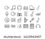 icon set design  music sound... | Shutterstock .eps vector #1610963407