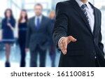 a business man with an open...   Shutterstock . vector #161100815