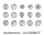 icon set of globe. editable... | Shutterstock .eps vector #1611008677
