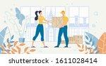cargo transportation home... | Shutterstock .eps vector #1611028414