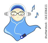 characters,girl,glass eyes,headphone,headphone jack,icon,ipod icon,listening,music,musical notes,musical notes vector,vector,veil,veiled woman