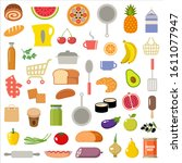 set of kitchen items and... | Shutterstock .eps vector #1611077947