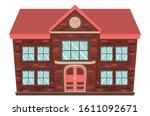 Cartoon small retro rural schoolhouse design on white background.