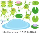 Set Of Cute Frog And Frog...