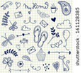 my home pen doodles on squared... | Shutterstock .eps vector #161128385