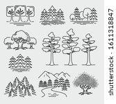 forest trees landscape vector... | Shutterstock .eps vector #1611318847