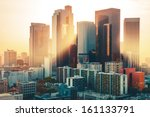 Stock photo los angeles downtown skyline at sunset 161133791