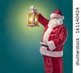 Santa Claus With A Lantern On A ...