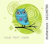 cute card with cartoon owl in... | Shutterstock .eps vector #161140784
