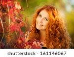 portrait of beautiful redheaded ... | Shutterstock . vector #161146067