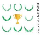 green realistic set of circular ... | Shutterstock .eps vector #1611530134