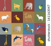 set of animals and birds  ... | Shutterstock .eps vector #161163047