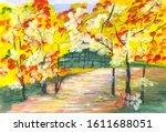 Watercolor Image Of Autumn Pat...