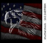 The Vector logo eagle for tattoo or T-shirt design or outwear.  Hunting style eagle background. This drawing is for black fabric or canvas.