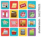flat shopping icons  | Shutterstock .eps vector #161170121