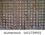 Old Wooden Gate Studded With...