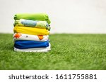 Stack Of Colorful Cloth Diapers