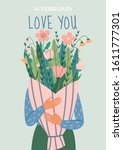 postcard with woman hugging... | Shutterstock .eps vector #1611777301