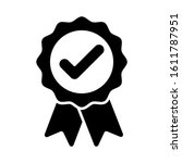 black ribbon approved badge... | Shutterstock .eps vector #1611787951